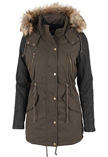 urban-classics-tb1091-ladies-leather-imitation-sleeve-parka-donna-color-olv-blk-size-xs