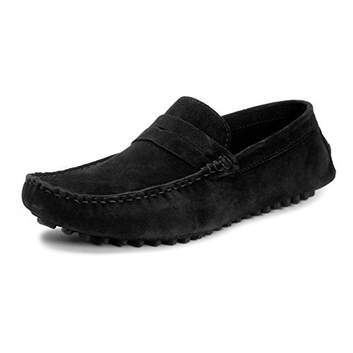 BACCA-BUCCI-MEN-BLACK-SUEDE-LEATHER-LOAFERS