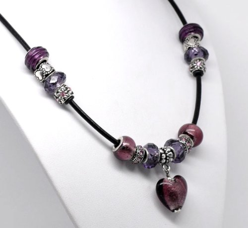 Purple Love Charm Necklace - Leather Adjustable