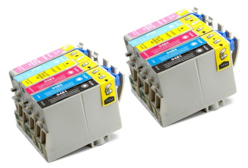 12 Pack Remanufactured Inkjet Cartridges for Epson T048 #48 T048120 T048220 T048320 T048420 T048520 T048620 Compatible With Epson Stylus Photo R200, Stylus Photo R220, Stylus Photo R300, Stylus Photo R300M, Stylus Photo R320, Stylus Photo R340, Stylus Photo R500, Stylus Photo R600, Stylus Photo RX500, Stylus Photo RX600, Stylus Photo RX620 (2 Black, 2 Cyan, 2 Magenta, 2 Yellow, 2 Light Cyan, 2 Light Magenta) 12PK by Aria Supplies ®