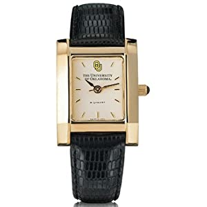 University of Oklahoma Ladies Swiss Watch - Gold Quad with Leather Strap by M.LaHart & Co.