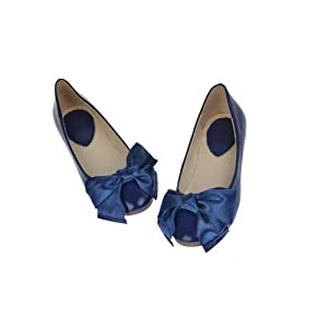Hotportgift Ballet Flats Low Heel Romantic Satin Bowed Ladies Wedding Shoes (dark blue, 7.5)