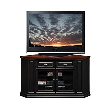 KD Furnishings Black/Cherry Indoor 62-inch Corner TV Stand & Media Console