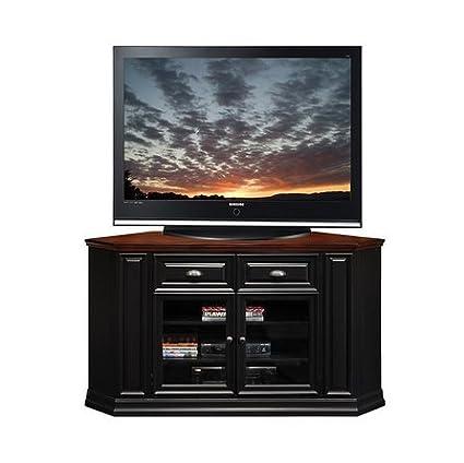 KD Furnishings Black/Cherry Indoor 62-inch Corner TV Stand & Media Console