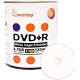 Smart Buy 100 Pack DVD R 4.7gb 16x White Printable Inkjet Blank Media Record Disc 100 Disc 100pk