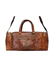 Real Goat Leather Handmade Travel Luggage Vintage Overnight Genuine Duffel Bag - B00N0PSR02