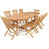 Garten Tischgruppe aus Teak Massivholz Garten (9-teilig) Pharao24