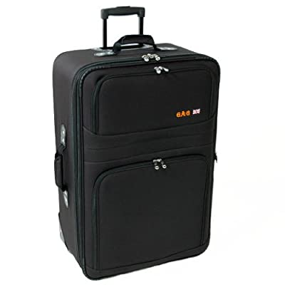 Medium 25'' Super Lightweight Expandable Suitcase (Black)