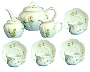 Gracie China Green Clover Garden Porcelain 11-Piece Tea Set