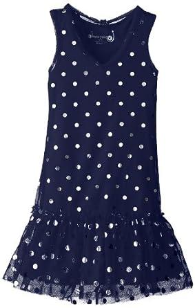 Dream Star Big Girls' Tulle with Foil Dot V Neck Drop Waist Dress, Navy, Small