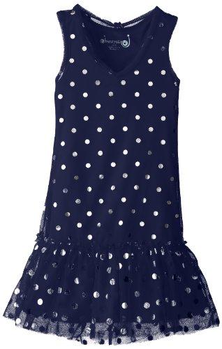 Dream Star Big Girls' Tulle With Foil Dot V Neck Drop Waist Dress, Navy, Large front-994606