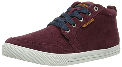 JACK & JONES - Jj Juno Suede Casual High Org, Sneakers uomo, color Rosso (Port Royale), talla 45