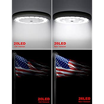 Solar Flag Pole Flagpole Light, BYB 26 Led Flag Figurine Lighting, Super Bright, Longest Lasting, Full Flag Coverage with Latest Technology dusk to dawn Downlight for Most 15 to 25 Ft Flag Pole