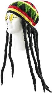 infactory Jamaika-Mütze mit Dreadlocks & gelber Brille