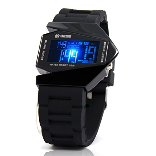 Wise® Cool Led Display Watch Colorful Light Digital Sport Water-Proof Military Stealth Fighter Style Wrist Watches With Soft Silicone Strap (Black)