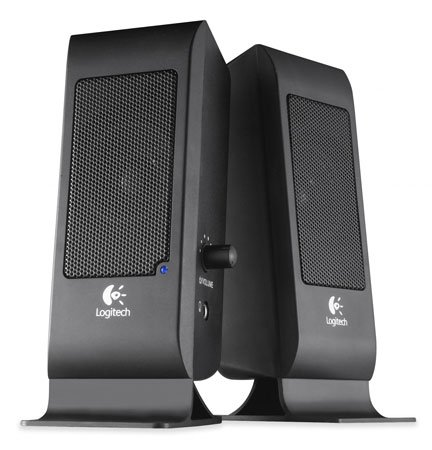 Logitech S120 Computer Speakers Black 5 Watts Rich Full Sound Edgy Design Convenient Controls