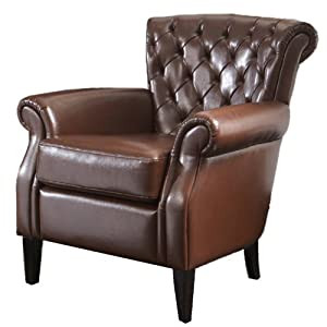 BEST Franklin Leather Club Chair,  Brown