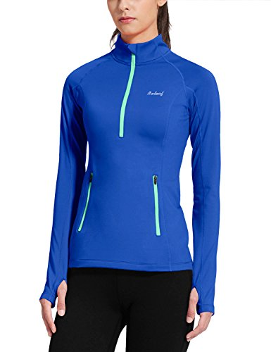 Baleaf Women's Thermal Fleece Half Zip Running Top Blue Size XL (Warm Weather Running Gear compare prices)