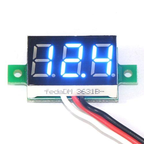 """DEOK 0,36"""" Mini Voltmètre DC 0-99.9V Moto Panneau Numérique 12 Volt Testeur de Tension LED Bleu"""