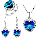 Domire Charm Ocean Titanic Heart Pendants Necklace Fashion Crystal Jewelry Set for Women