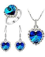 Liroyal Charm Ocean Titanic Heart Pendants Necklace Fashion Crystal Jewelry Set for Women