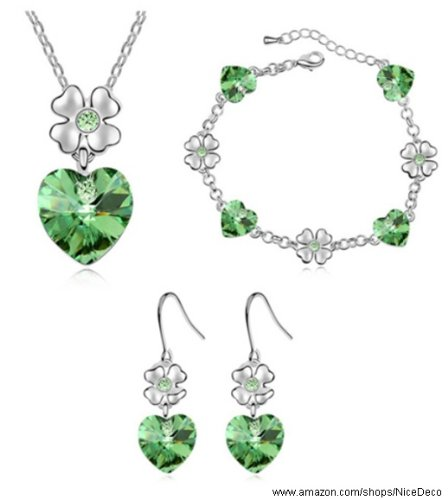Nicedeco Je-Sw-Tz012-Green,Swarovski Elements Austrian Crystal Jewelry Sets,The Dancing Heart,Necklace,Bracelet,,And Earring(3-Piece Set),Elegant Style And Exquisite Craftsmanship