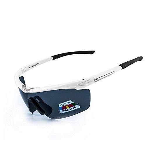bicicletta polarizzate occhiali Equitazione da sole di guida sportivi PC di Uomini o Donne Bettertol con 5 lenti intercambiabili(bianca1)