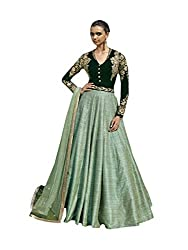 VH Fashion Bottle Green Micro Velvat Top With Stylish V-Necked Chinese Coller Added With Hevy Embroiderdery Work,Skirt In Green Khadi Salwer Suit