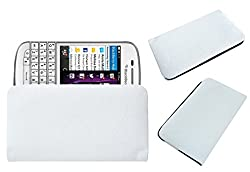 Acm Rich Leather Soft Case For Blackberry Q10 Mobile Handpouch Cover Carry White