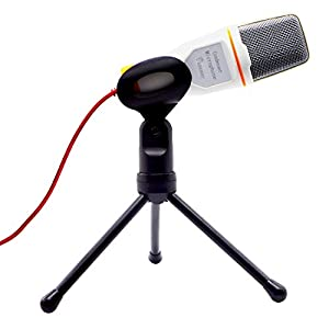 VAlinks® 3.5mm Plug Professional Condenser Sound Microphone Mic With Stand and Clip and 2.0m Cable for PC Laptop Skype Facetime Youtube Chatting Recording Singing on Internet or Karaoke