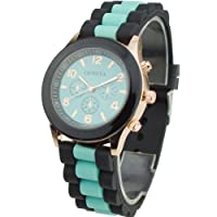 Women's Silicone Band Jelly Gel Quartz Wrist Watch Mint Green by Sanwood