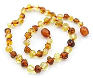 The Art of CureTM *SAFETY KNOTTED* Honey & Lemon - (Unisex) - Certified Baltic Amber Baby Teething Necklace Highest Quality Guaranteed- Anti Inflammatory, Drooling & Teething Pain. Easy to Fastens with a Twist-in Screw Clasp Mothers Approved Remedies!