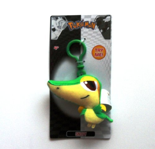 Pokemon Snivy Plush - Clip to Backpack, Bag, Clothes and More - Pull to End of String and It Shakes! - 1