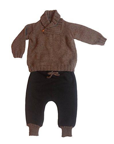 Olivia robe da bimbi, Completo maglione marrone e pantalone nero, bambino, 12 mesi