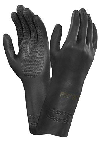 Ansell Neotop 29-500-Guanti in neoprene, protezione contro le sostanze e i liquidi, colore: nero (Confezione da 12 paia), 10, nero, 12