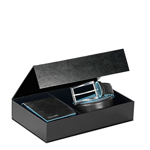 PIQUADRO BLUE SQUARE Cofanetto regalo con portafoglio uomo e cintura con fibbia ad ardiglione in Vera Pelle Nera CUBOX02B2/N
