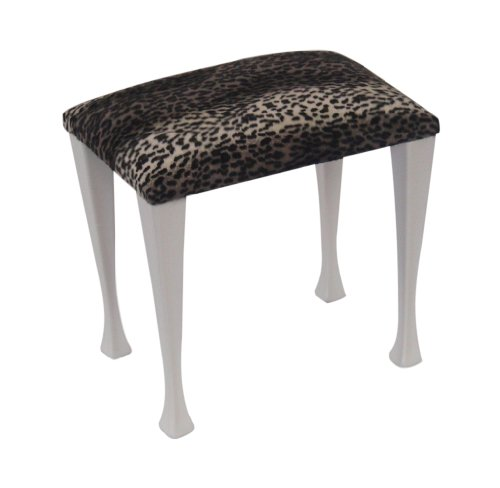 Snow Leopard Print Fabric Top Dressing Table/Bedroom Stool with Modern White Legs