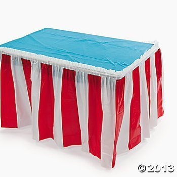 Red & White Striped Table Skirt Children, Kids, Game - 1