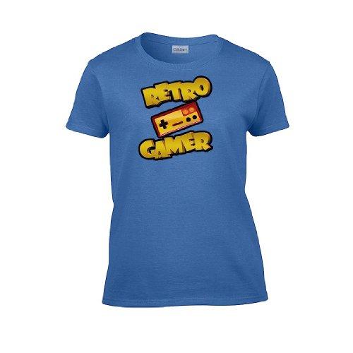 Iamtee Womens Retro Gamer T-Shirt-Blue-S