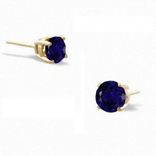 ClassicDiamondHouse 4Ct Tw Sapphire Cubic Zirconia Diamond Vermeil Basket Setting (.925) Sterling Silver Stud Earrings - Incl. ClassicDiamondHouse Free Gift Box & Cleaning Cloth