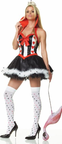 Red Queen Of Hearts Costume - Medium/Large - Dress Size 8-12