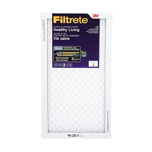 Filtrete Healthy Living Ultra Allergen Reduction Filter, MPR 1500, 14 x 25 x 1-Inches, 2-Pack (3m Filtrete 14 X 25 X 1 compare prices)