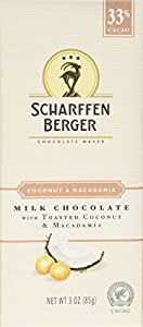 Scharffen Berger Chocolate Bar, Milk Chocolate with Toasted Coconut and Macadamia (33% Cacao), 3-Ounce Bars (Pack of 4)