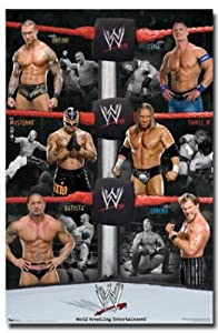 WWE (Randy Orton, John Cena, Triple H, Chris Jericho, Batista, Rey Mysterio) Sports Poster Prin - 22x34 custom fit with RichAndFramous Black 22 inch Poster Hangers