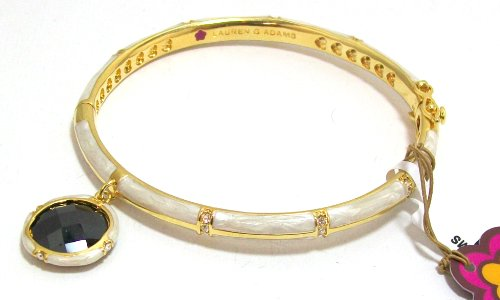 Lauren G Adams 18k Gold Plated Stackable Pearly Ivory Enamel CZ Charm Bangle Bracelet Size Small