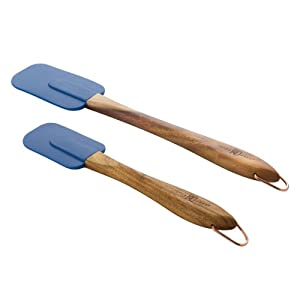 Paula Deen Signature Kitchen Tools 2-Piece Silicone Acacia Wood Spatula Set, 10-Inch and 13-Inch, Blueberry