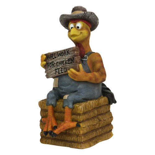 Coin Bank, Will Work for Feed Rooster Chicken on Hay Bale Figure, 8-inch