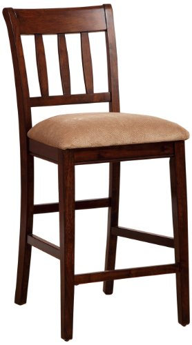 Furniture of America Stoney Upholstered Wooden Counter Height Chair, Brown Cherry, Set of 2