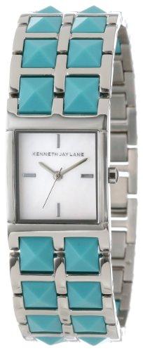 Reloj de pulsera para mujer Kenneth Jay Lane KJLANE-1504 Serie 1500 plateado con enlaces en tono turquesa
