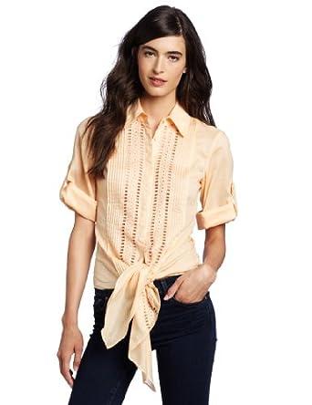 Catherine Malandrino Women's Tie Waist Blouse, Peach, 8